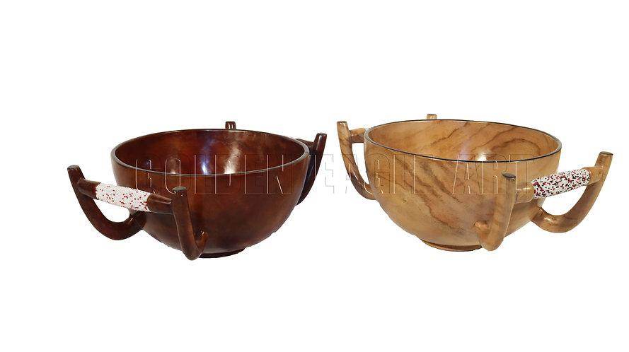 Deep handled salad bowls( rose and African tik woods)
