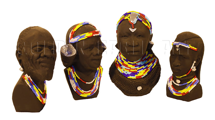 Assorted beaded clay busts
