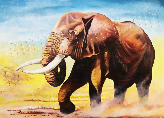 Elephant oil painting on canvas