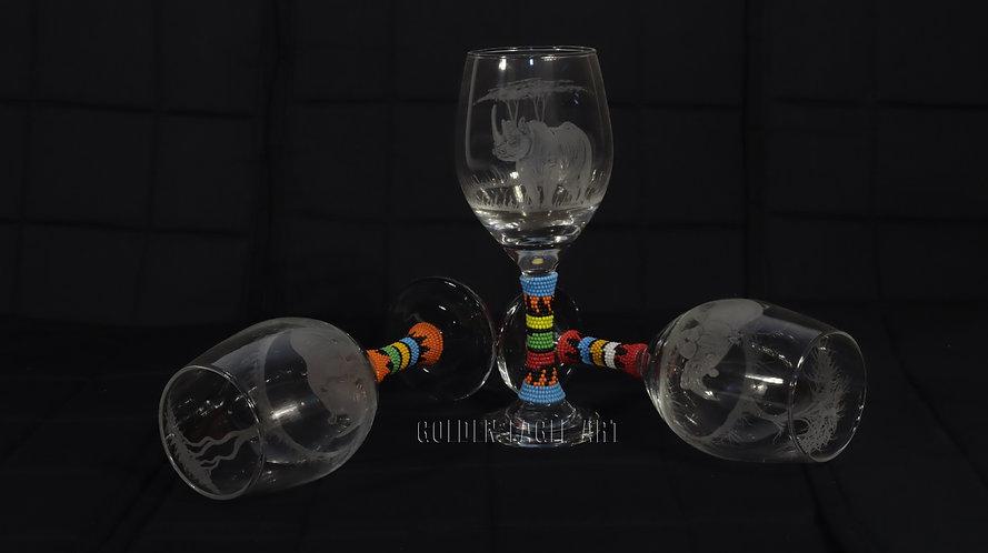 Engraved beaded wine glasses