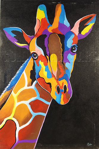 Colored Giraffe head oil painting on canvas