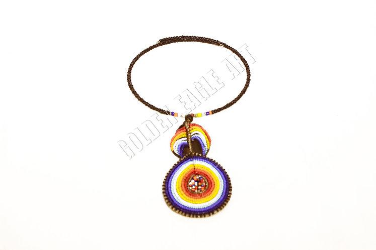 Leather beaded circle pendant