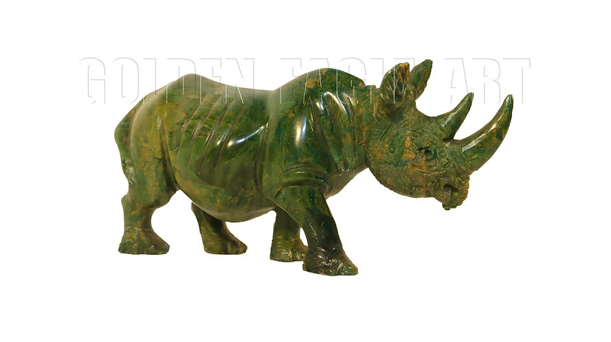 Carved varadite stone rhino