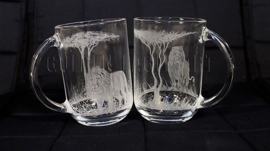 Engraved coffee glass cups