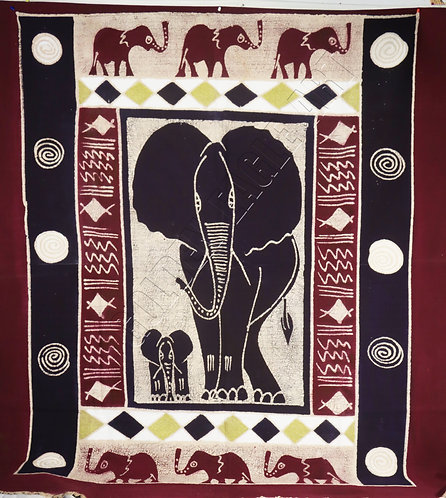 Zimbabwe Batik table cloth with Elephant paintings