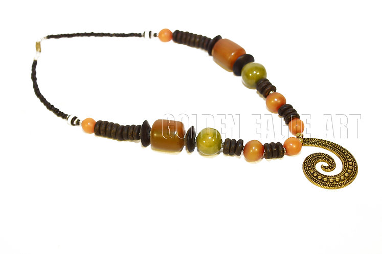 Ambor bead seeded necklace