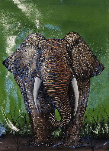 Textured elephant abstract oil painting on canvas