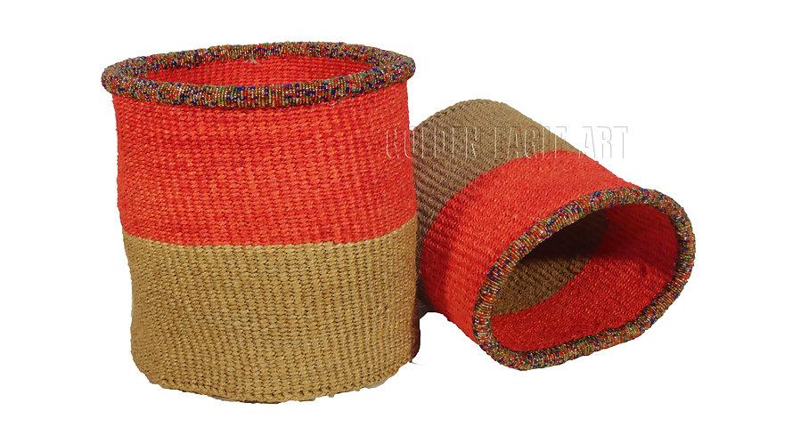 A set of 2 paper bin beaded baskets