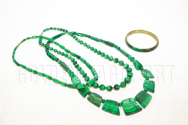 Assorted malachite necklaces