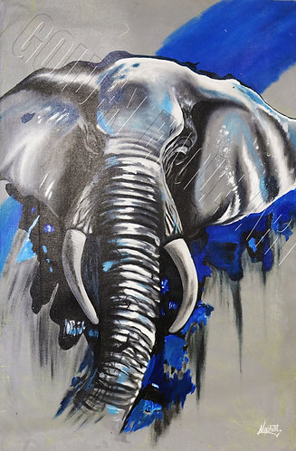 Abstract elephant face oil painting on canvas