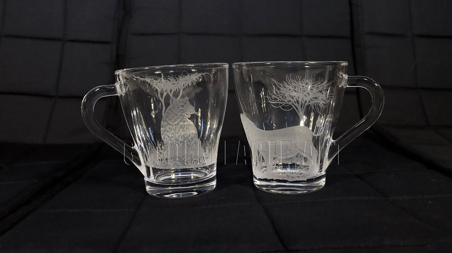Engraved glass tea cups