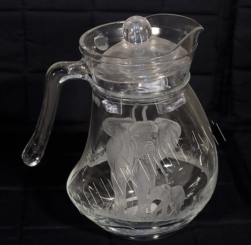 Engraved glass water jug