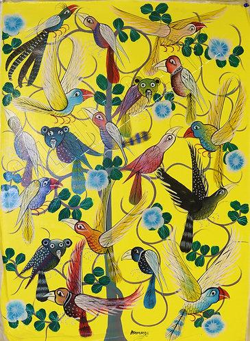 Tingatinga birds oil painting on canvas