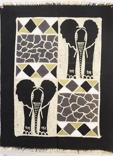 Zimbabwe Batik table cloth- Elephant painting
