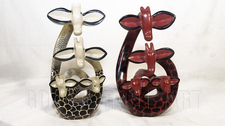 Soapstone carved artistic giraffes