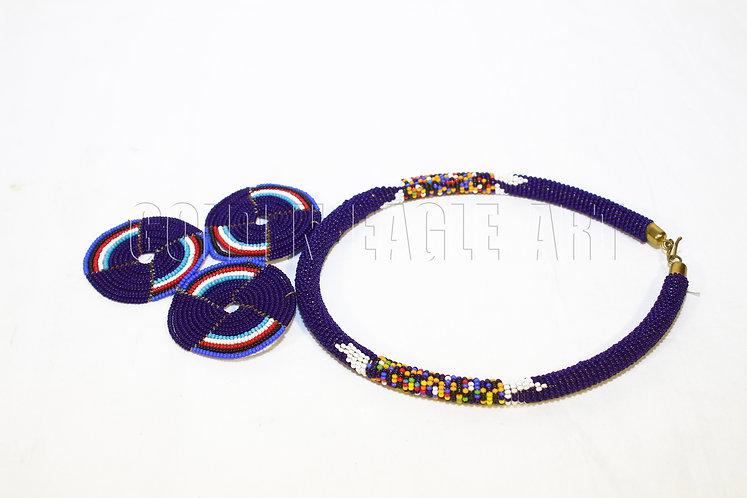 Flower pendant maasai necklace