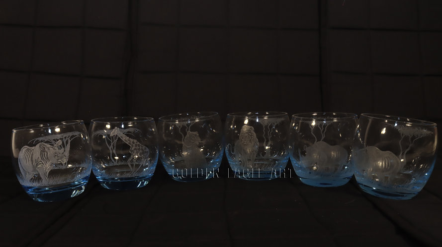 Engraved round coloured curved whisky glasses