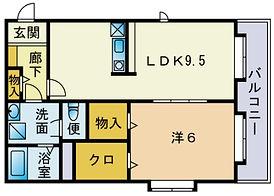 japanese layout , 1LDK , 1 living dinning kitchen