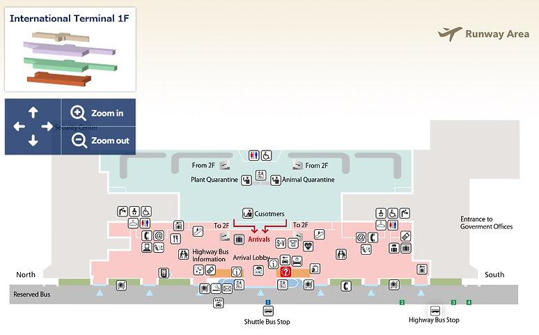 Fukuoka International Airport map, Arrivals