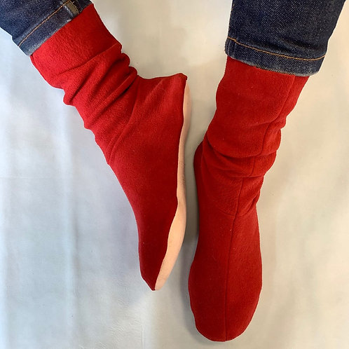 CHAUSSONS - NUBUCK ROUGE - 38/39