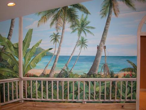 Tropical beach mural