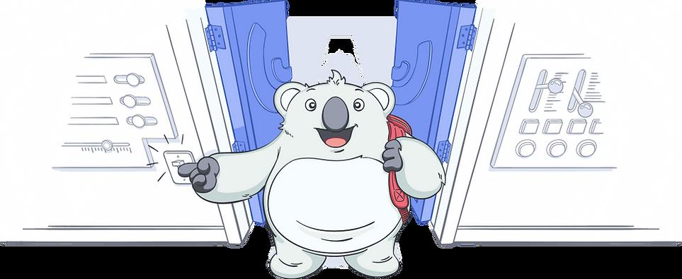 Mascote da Umbler abrindo a porta dos servidores de hospedagem