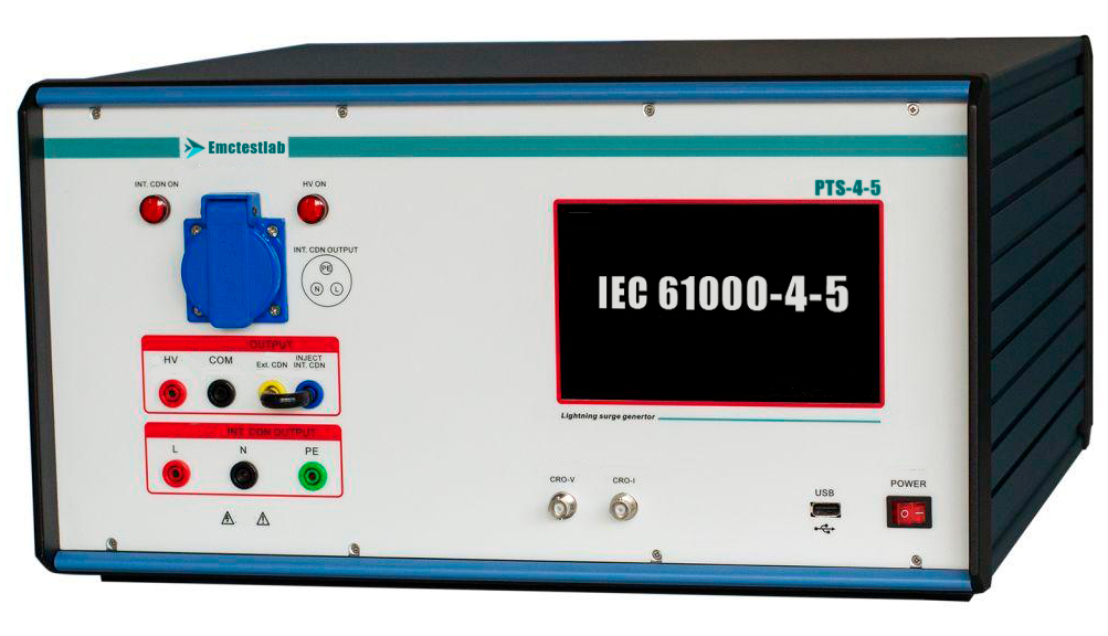 PTS-4-5 Дешевый имитатор микросекундных импульсов IEC 61000-4-5 со встроенным УСР