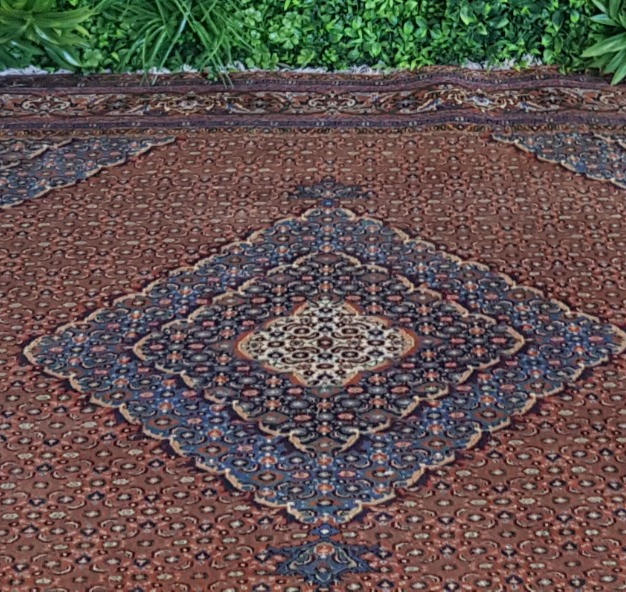Persian Blue and Maroon Diamond Rug 2.4m sq