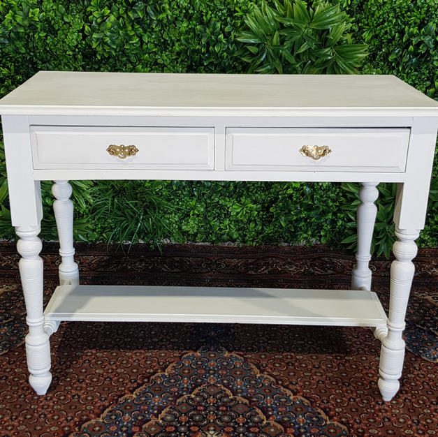 White Two Draw Table