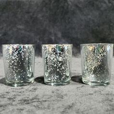 Silver speckle mirror tea light
