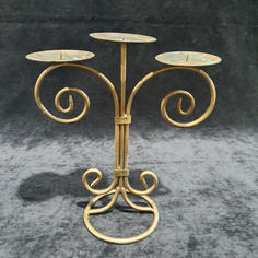 Curly Gold 3 arm Candelabra