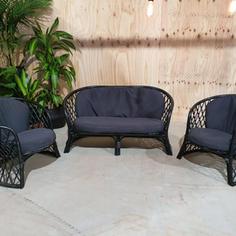 Black Cane Lounge Black Cushion