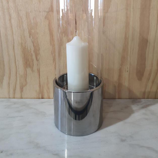 Metal and Glass Hurricane Lamp