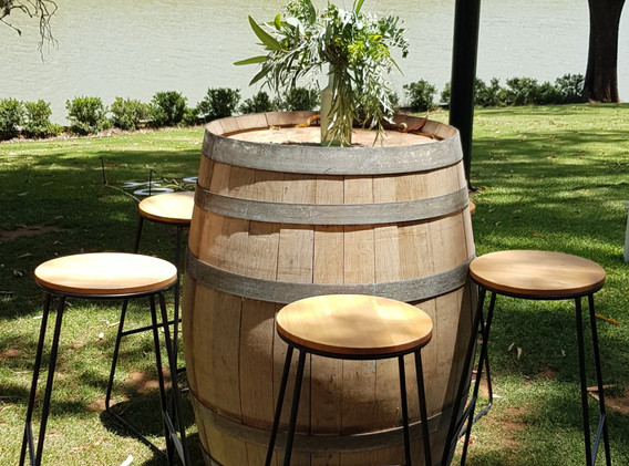 Wine Barrel with white hair pin leg stools