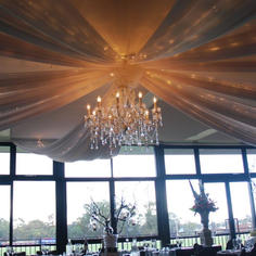Ceiling Draping with Chandelier