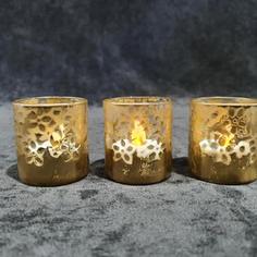 Gold floral tea light
