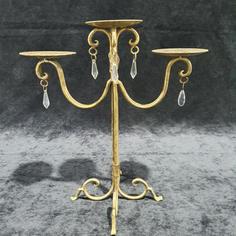 Gold Candelabra Crystal Droplet 3 arm