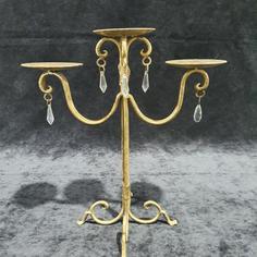 Gold 3arm candelabra crystal droplet