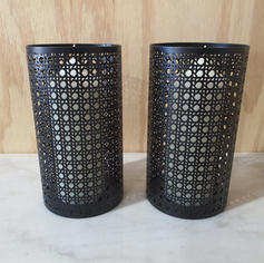 Black Rattan Candle Holders