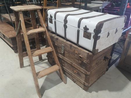 Ladder, suit case, steamer trunk