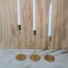 Gold Candlesticks - set of 3