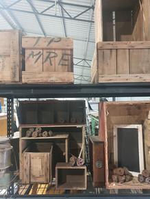 Assorted timber crates
