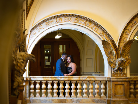 Engagement Photo Session at the Milwaukee Central Public Library.