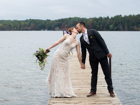 An outdoor wedding Ceremony at Camp Lakotah, Wautoma, WI