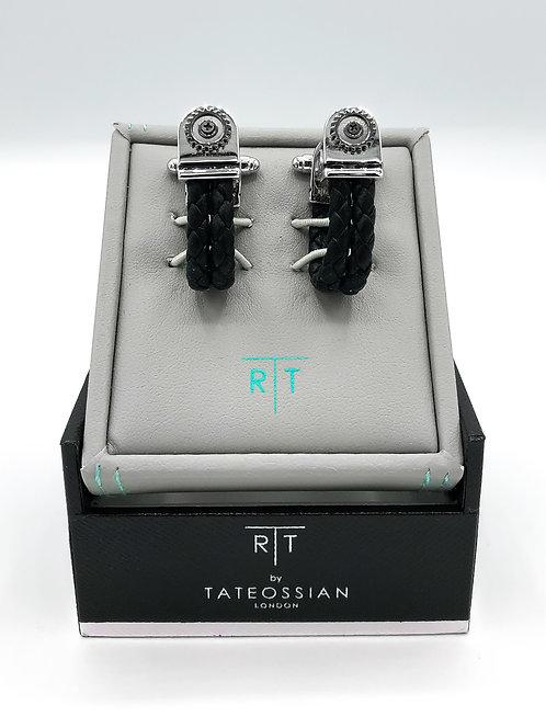 Tateossian Mechanical Gear Wraparound Cufflinks - Black Leather Braid