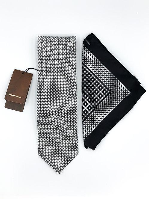 Stefano Ricci Tie Set - Black/White