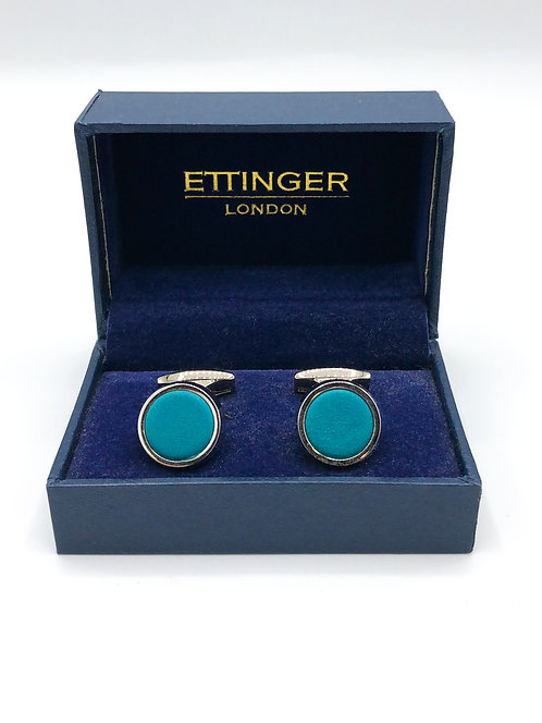 """Ettinger """"Sterling"""" Round Cufflinks - Turquoise/Silver"""