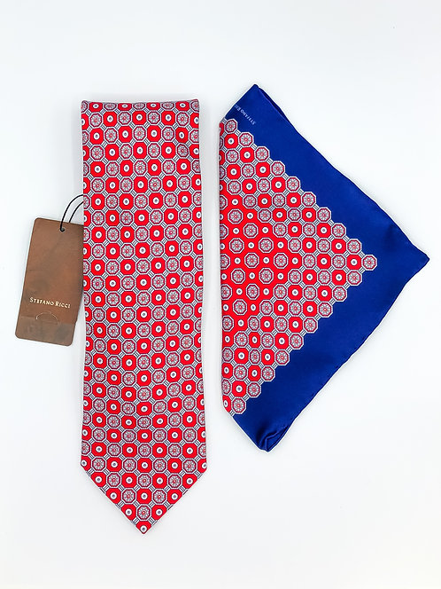 Stefano Ricci Tie Set - Red/Blue
