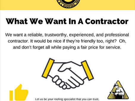What We Want In A Contractor