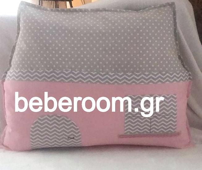 Μαξιλάρι Προσκέφαλου Κούνιας  Σπιτάκι<<ροζ -γκρι ζικζακ- πουά>>
